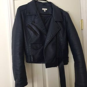 Urban Outfitters Navy Leather Jacket